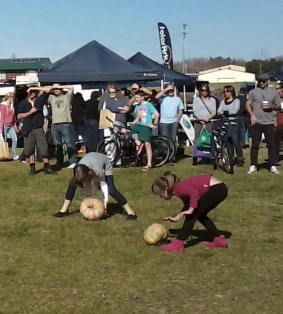 Pumpkin rolling competition at the SE Harvest Festival