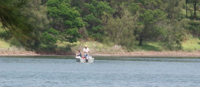 Fishing in a lake near Bermagui